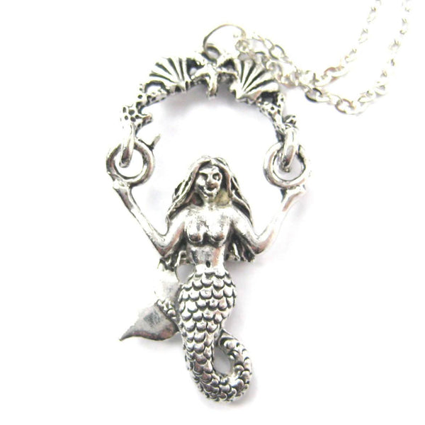 Detailed Mermaid & Sea Shells Pendant Necklace in Silver | MADE IN USA