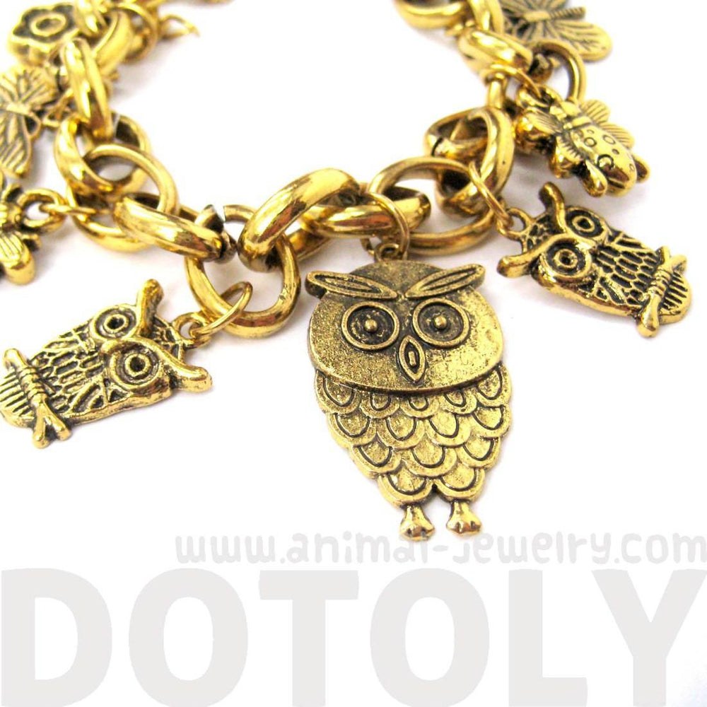 Detailed Owl Bird Animal Charm Bracelet in Gold | Animal Jewelry