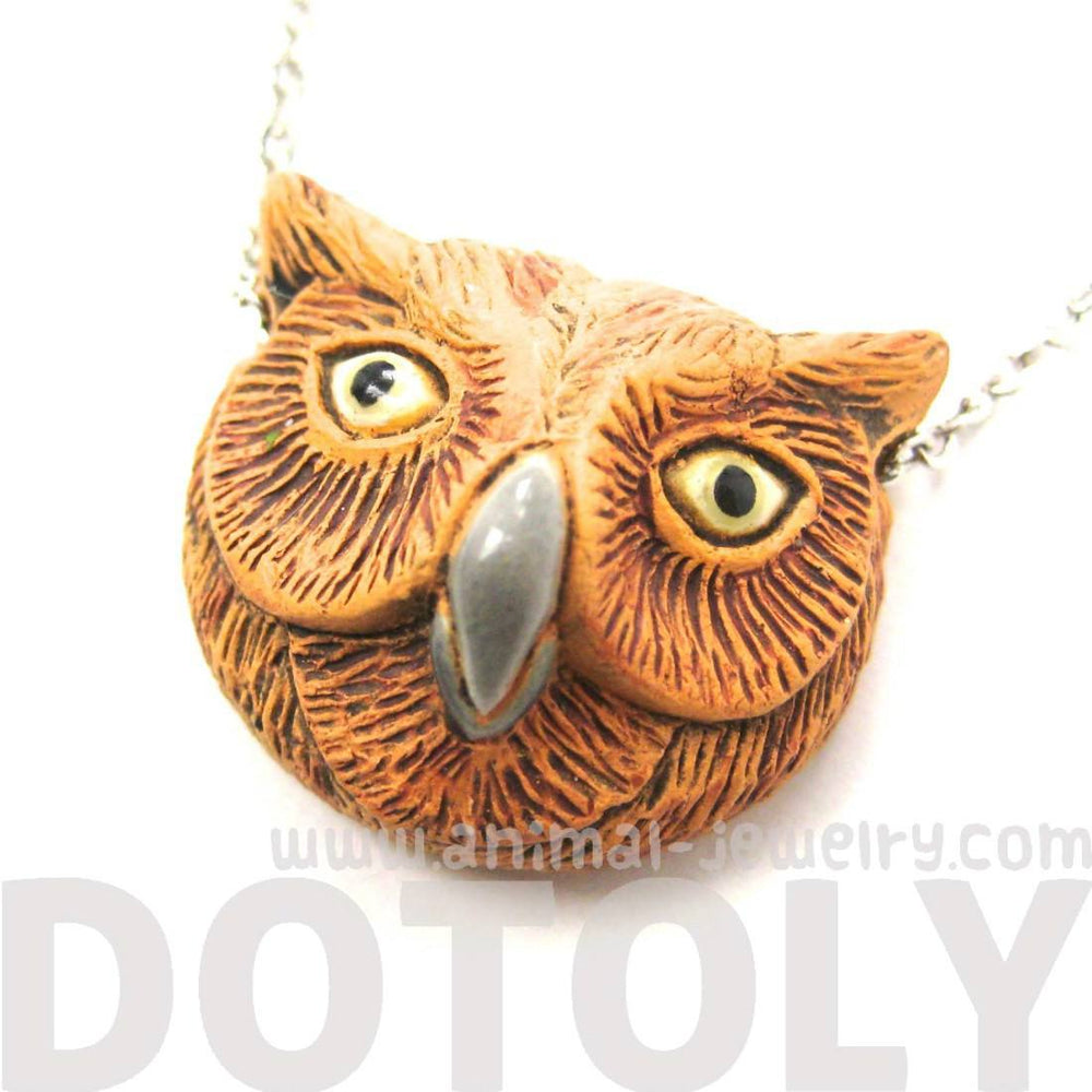 Detailed Owl Head Bird Shape Porcelain Ceramic Animal Pendant Necklace