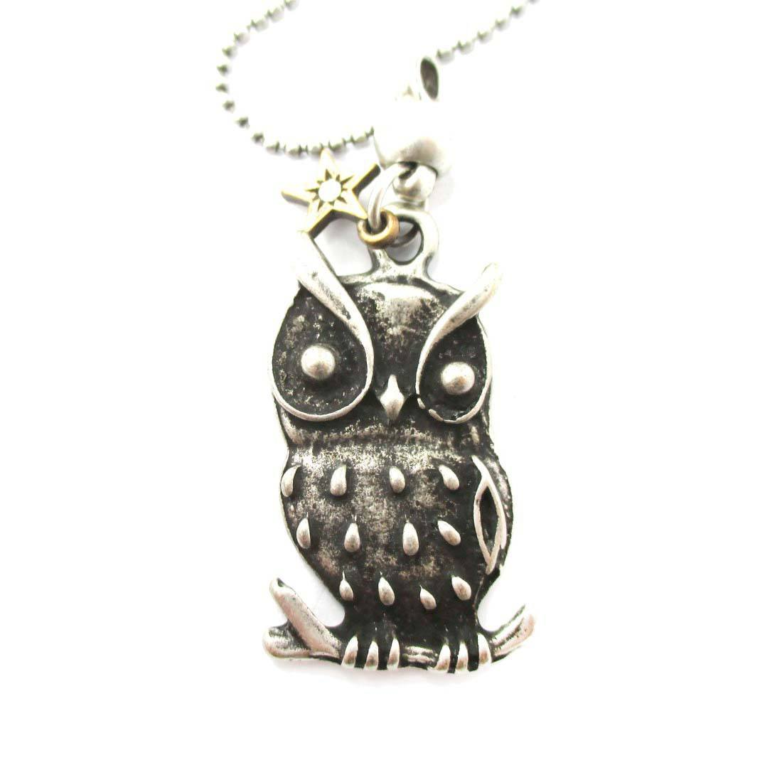 Detailed Owl On A Branch Bird Shaped Pendant Necklace in Silver