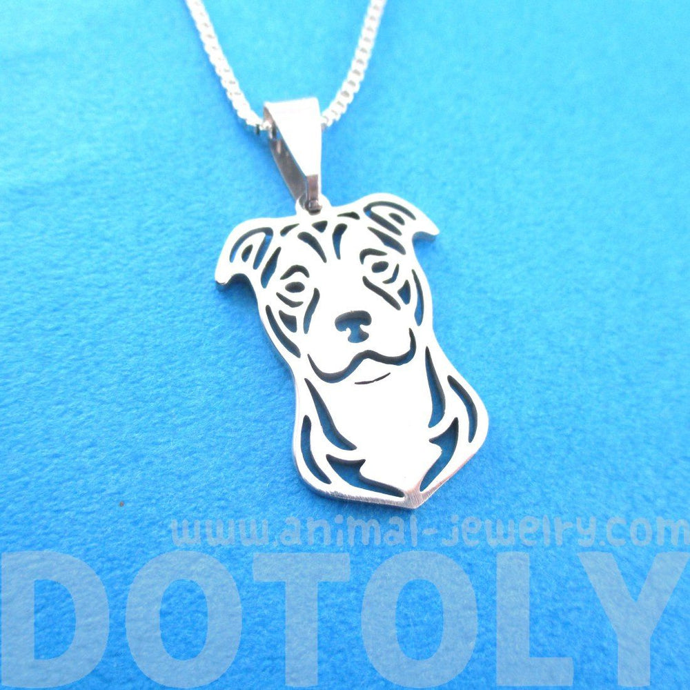 Pitbull Dog Shaped Cut Out Pendant Necklace in Silver
