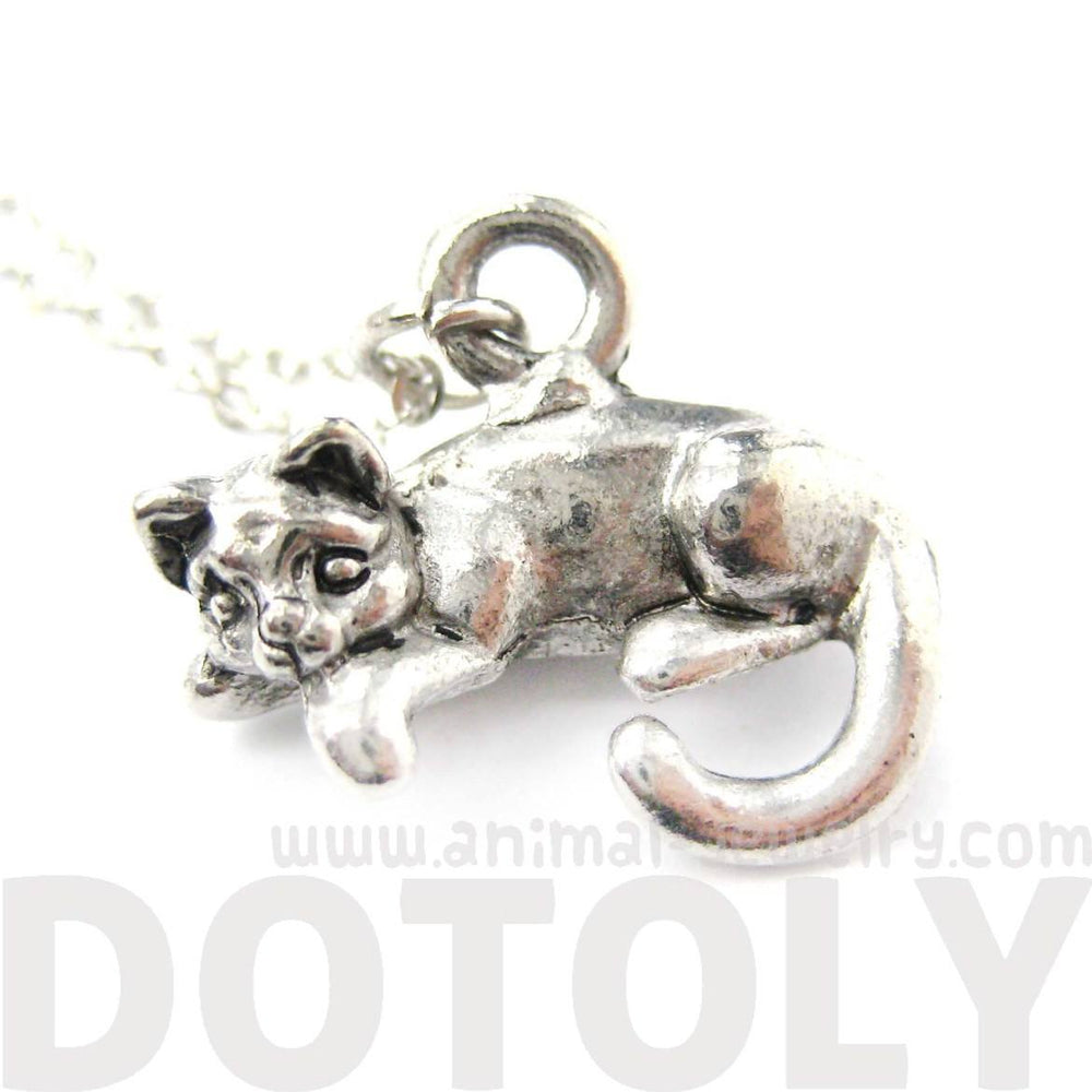 3D Detailed Sleeping Lazy Kitty Cat Charm Necklace | MADE IN USA