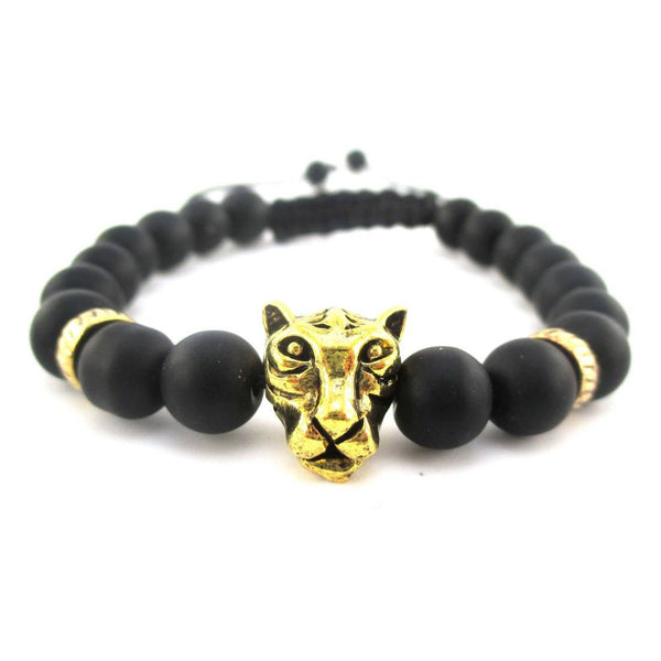 Detailed Tiger Face Charm Adjustable Length Black Beaded Bracelet