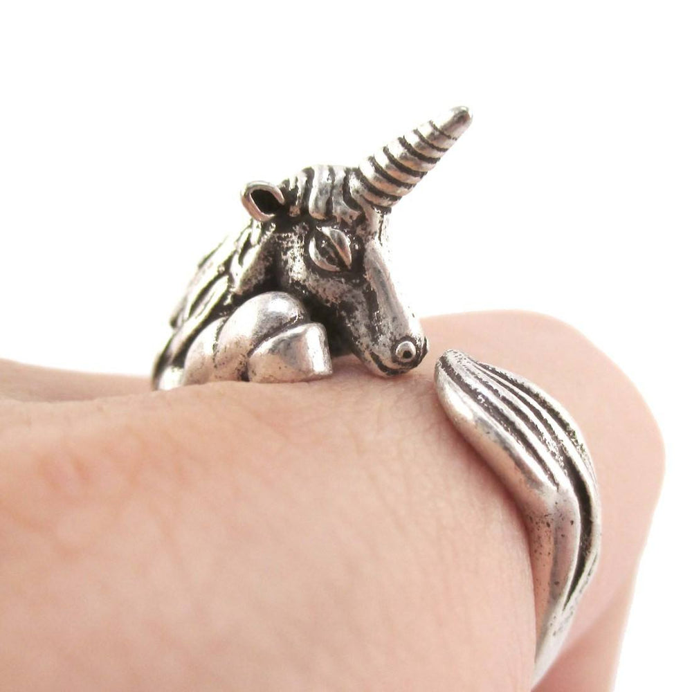 Detailed Unicorn Animal Hugging Your Finger Shaped Ring in Silver