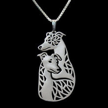 Whippet Greyhound Dog Shaped Cut Out Pendant Necklace