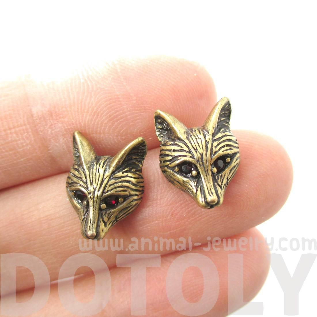 Detailed Wolf Fox Face Shaped Stud Earrings in Brass with Rhinestones