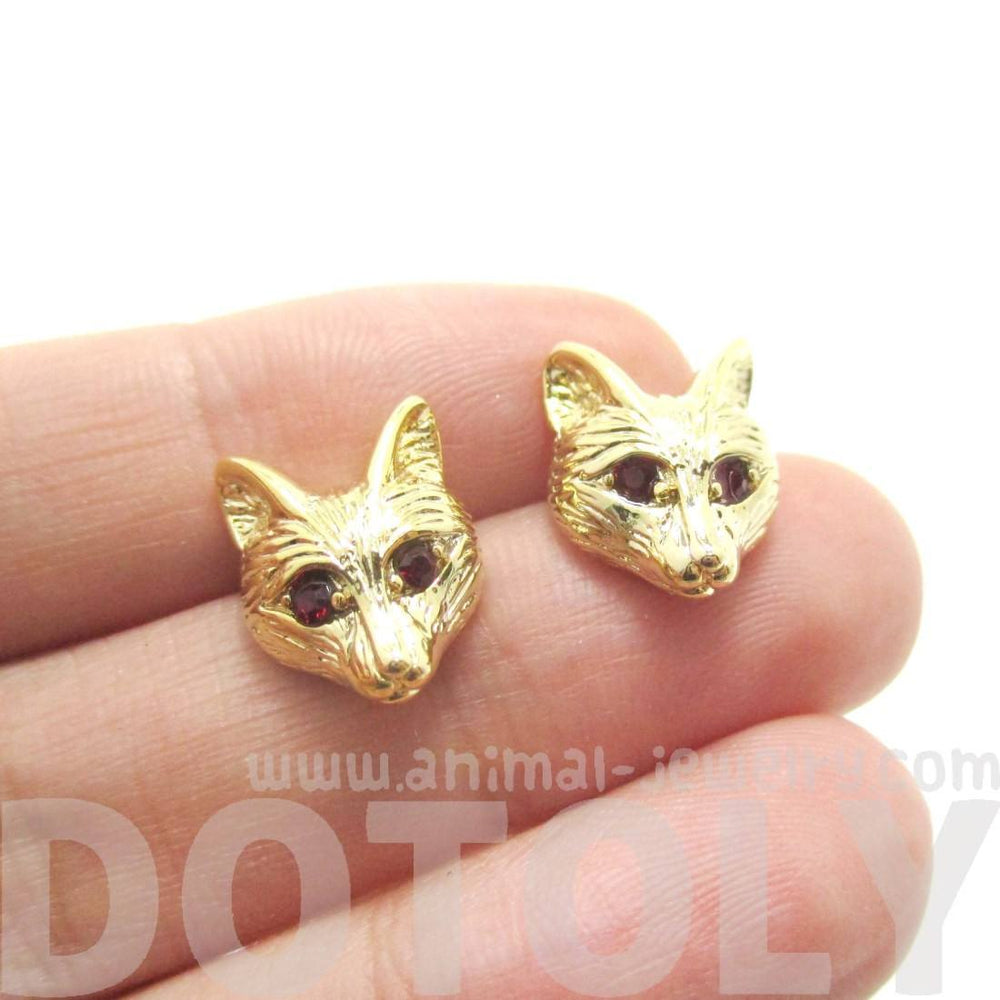 Detailed Wolf Fox Face Shaped Stud Earrings in Gold