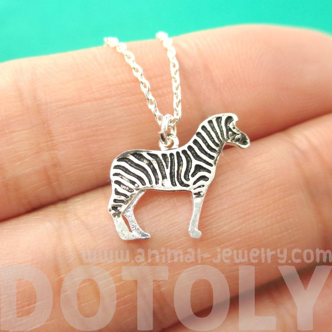 Zebra Shaped Charm Necklace in Silver | Animal Jewelry