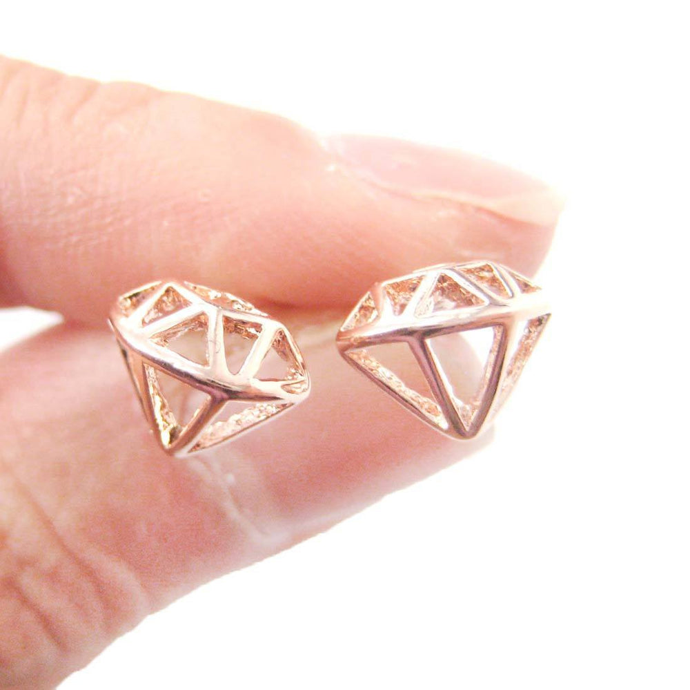 Diamond Outline Shaped Cut Out Stud Earrings in Rose Gold | DOTOLY
