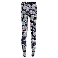 Dinosaur Fossil and Polka Dot Digital Print Stretch Leggings for Women