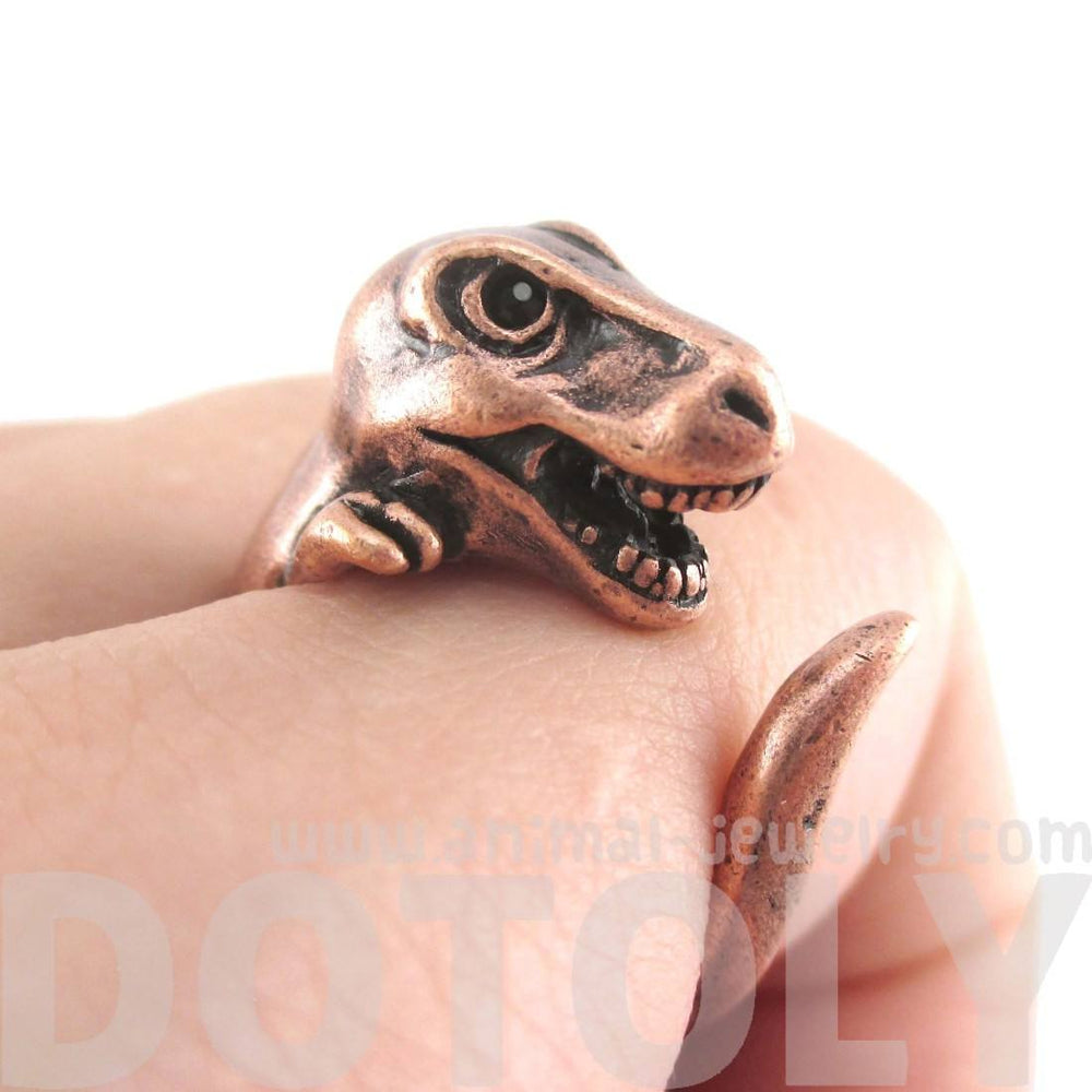 Dinosaur T-Rex Prehistoric Animal Wrap Ring in Copper