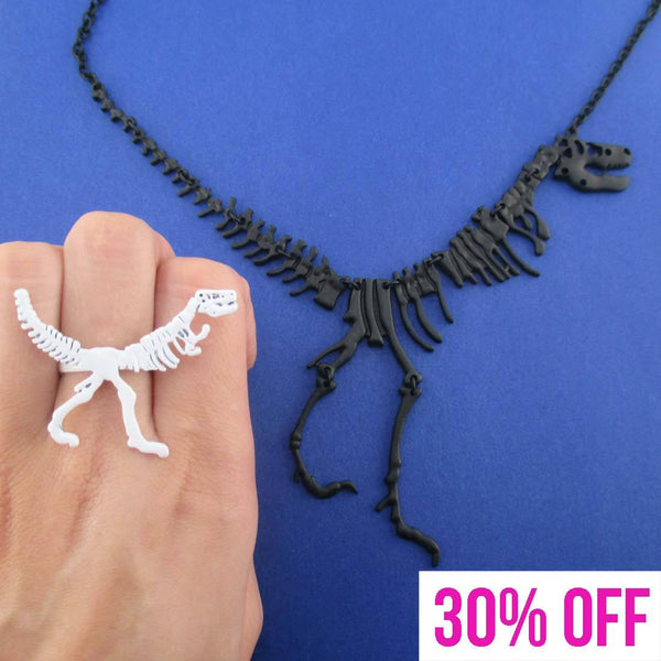 Dinosaur Themed T-Rex Fossil Ring and Skeleton Necklace 2 Piece Set