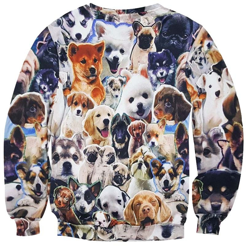 Dog Breed Dachshund ug Husky Corgi All Over Collage Print Sweatshirt