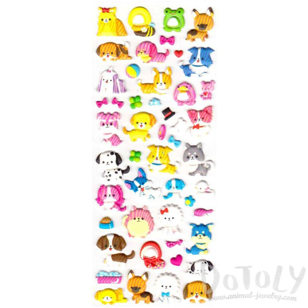Cartoon Corgi Poodle Maltese Dog Shaped Puffy Stickers