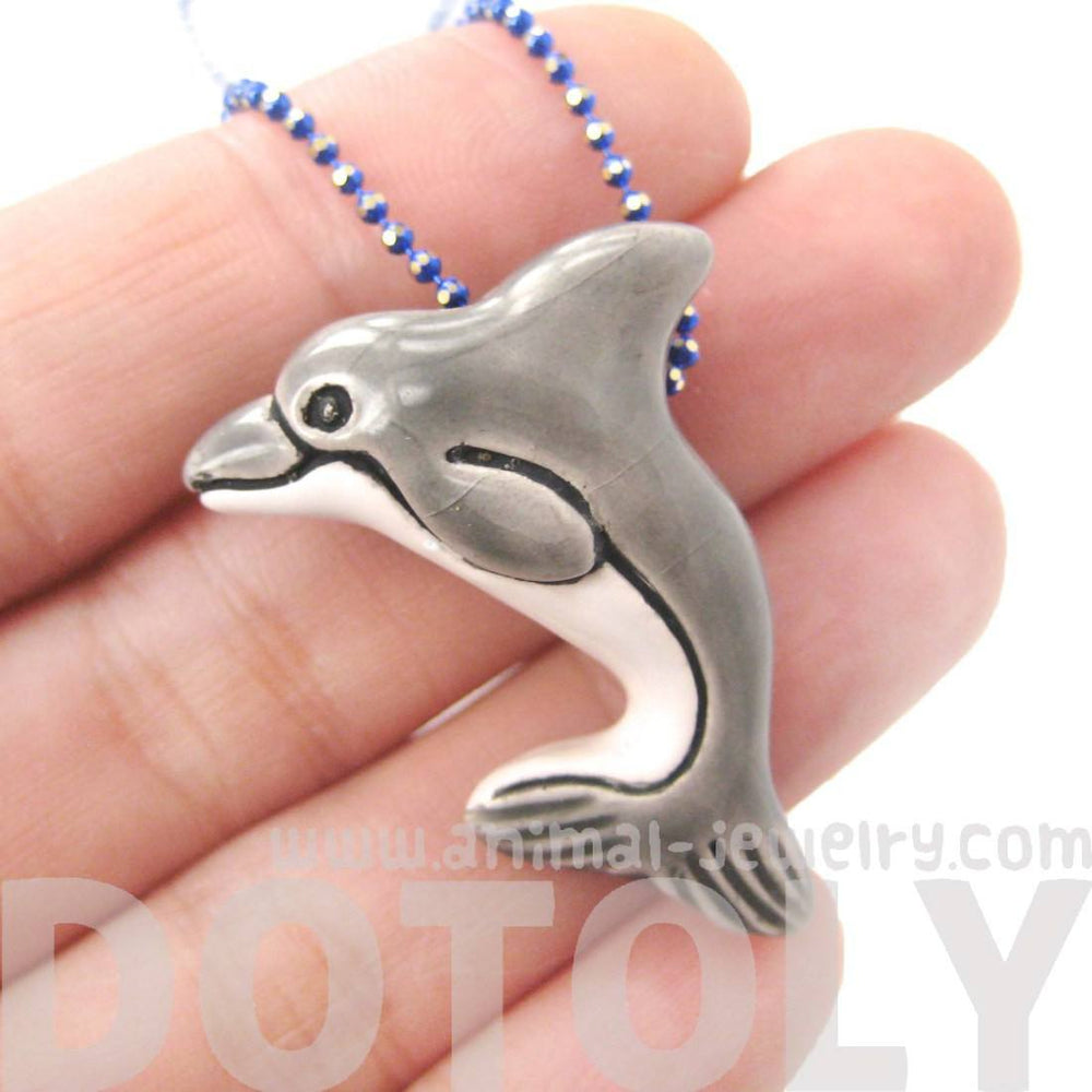 Porcelain Ceramic Dolphin Sea Animal Totem Pendant Necklace | Handmade