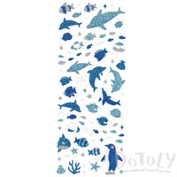 Dolphins Penguin Fish Marine Shaped Glittery Stickers