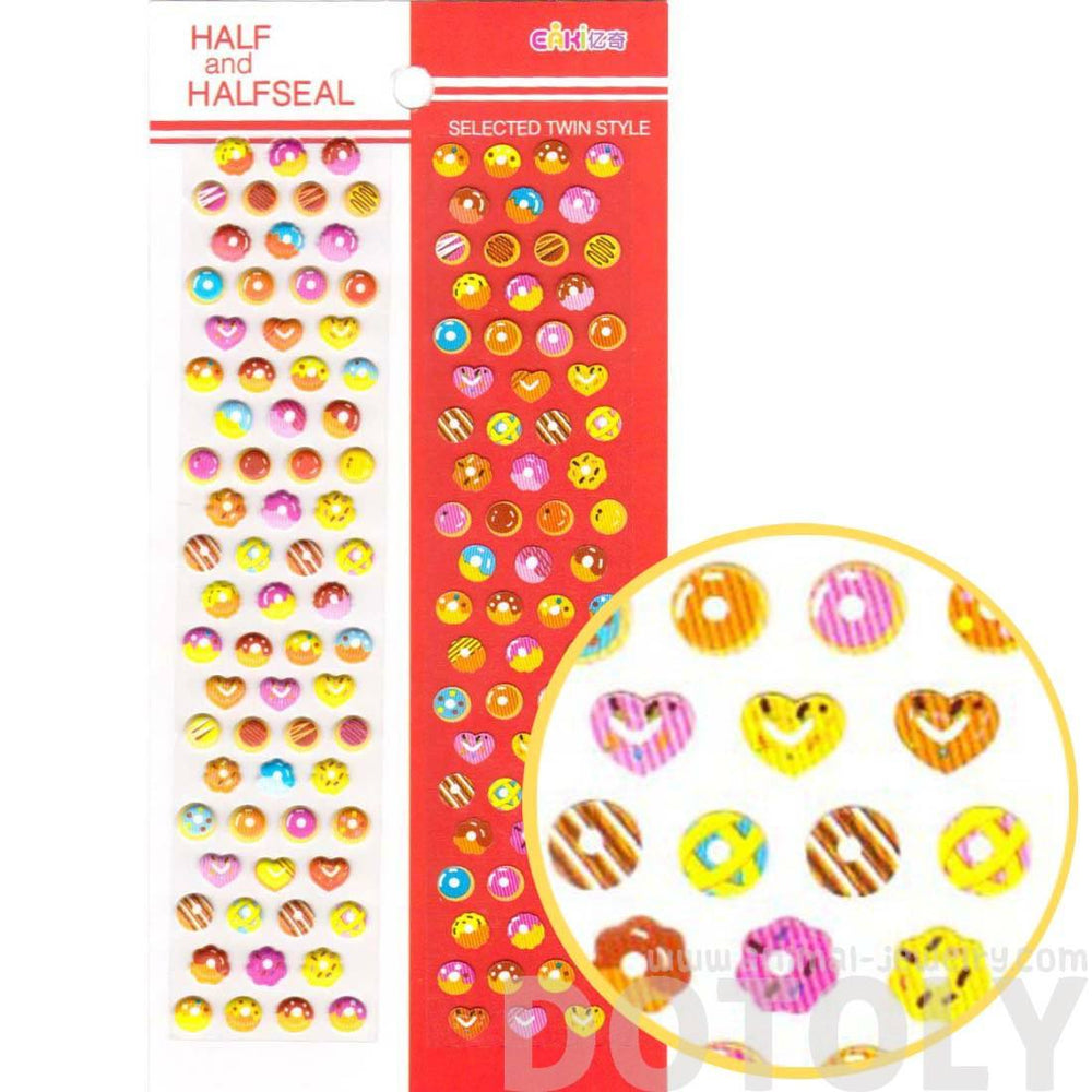 Cute Donut Desserts Shaped Food Themed Puffy Stickers