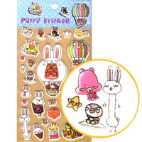 dorky-bunny-rabbit-illustrated-animal-puffy-stickers-for-scrapbooking-and-decorating