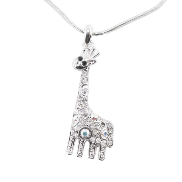 Dorky Giraffe Shaped Pendant Necklace in Silver with Rhinestones
