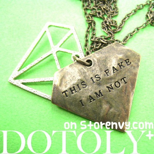 diamond-shaped-this-is-fake-i-am-not-charm-necklace-in-bronze