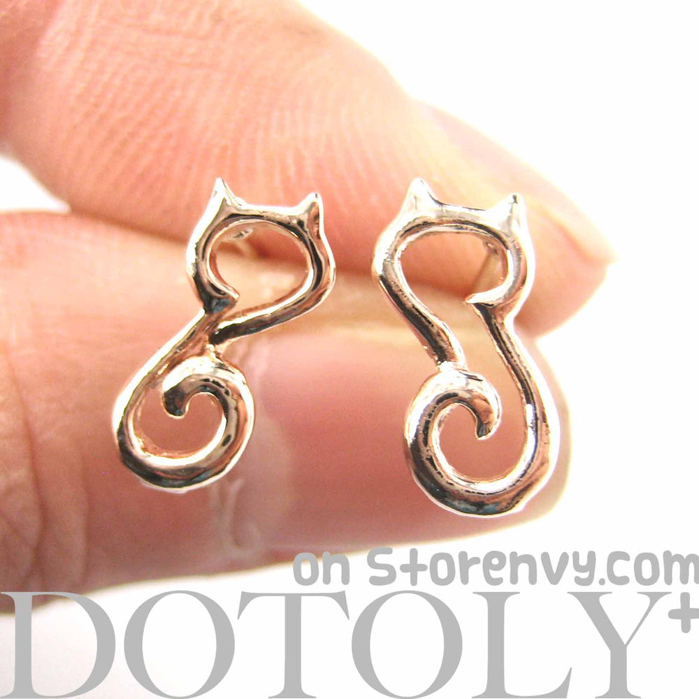 cute-kitty-cat-animal-outline-stud-earrings-in-rose-gold