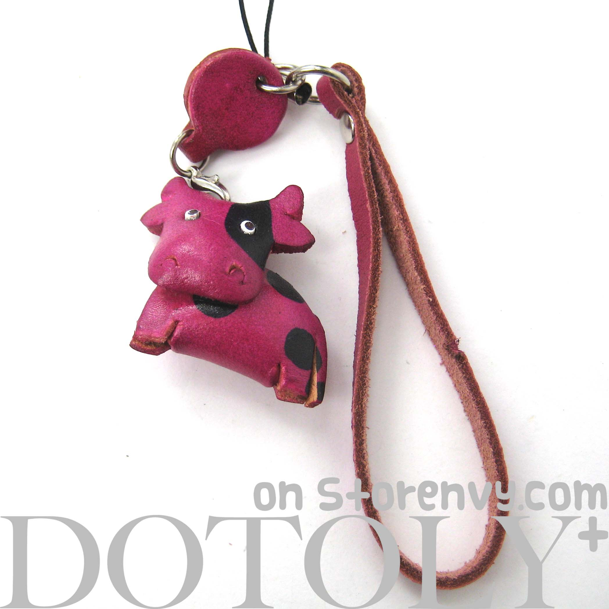 faux-leather-cow-bull-animal-charm-necklace-with-mobile-strap