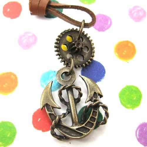 Antique Anchor Steampunk Pendant Necklace in Bronze | DOTOLY | DOTOLY