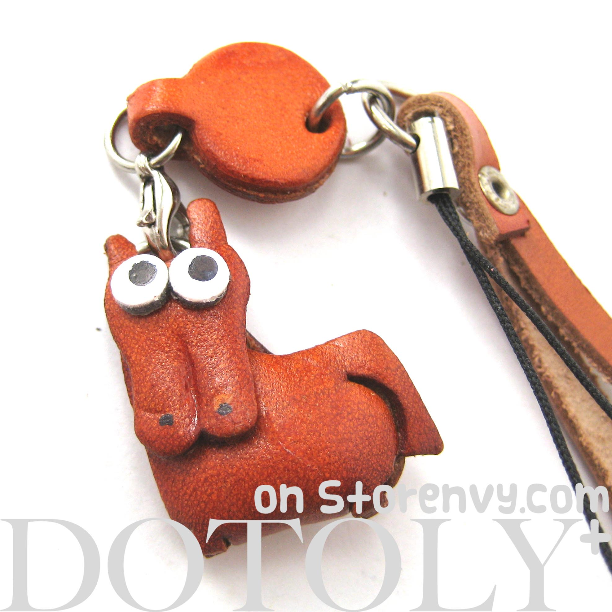 faux-leather-camel-horse-animal-charm-necklace-with-mobile-strap