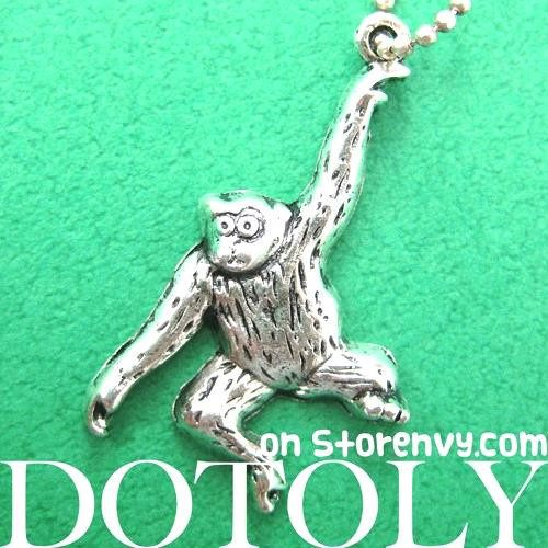 Swinging Monkey Chimpanzee Animal Pendant Necklace in Silver | DOTOLY