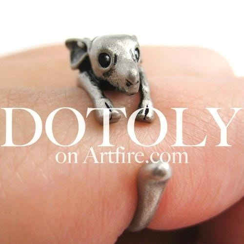 Miniature Reindeer Deer Animal Wrap Around Ring in Silver - Sizes 4 to 9 Available | DOTOLY