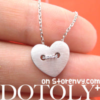 Simple Heart Shaped Button Pendant Necklace in Silver | DOTOLY | DOTOLY