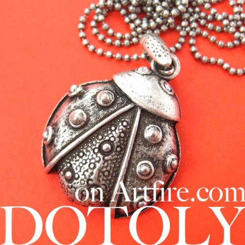 Ladybug Polka Dot Insect Animal Charm Necklace in Silver