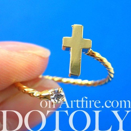 Adjustable Cross Shaped Wrap Around Ring in Gold with Rhinestones | DOTOLY