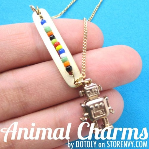 colorful-miniature-robot-charm-bar-necklace-in-gold
