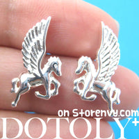 unicorn-pegasus-flying-horse-stud-earrings-in-silver