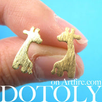 Giraffe Silhouette Animal Stud Earrings in Gold with Allergy Free Earring Posts | DOTOLY