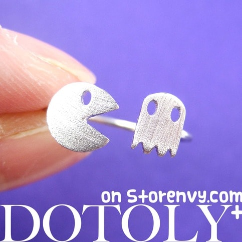 Namco Pac-Man Arcade Themed Adjustable Ring in Silver | DOTOLY