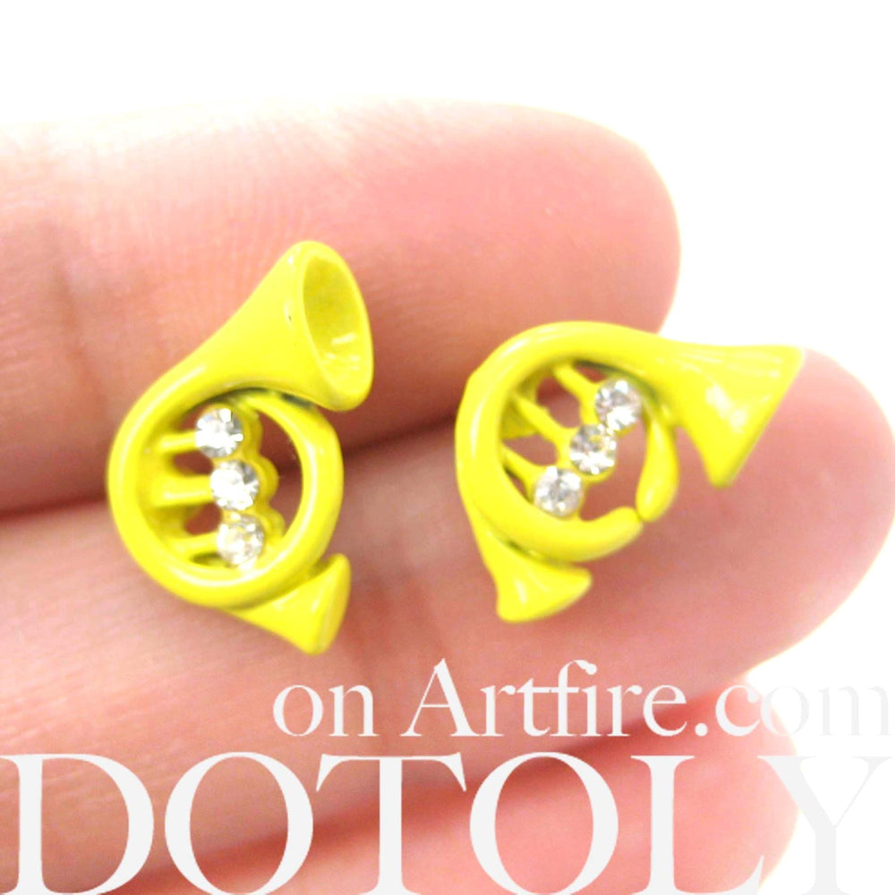 Music Themed Trumpet Shaped Stud Earrings in Yellow | DOTOLY | DOTOLY