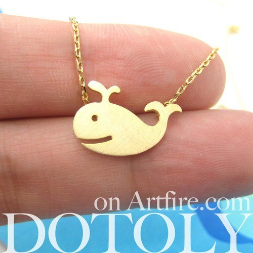 Happy Whale Pendant Necklace In Gold | Animal Jewelry | DOTOLY