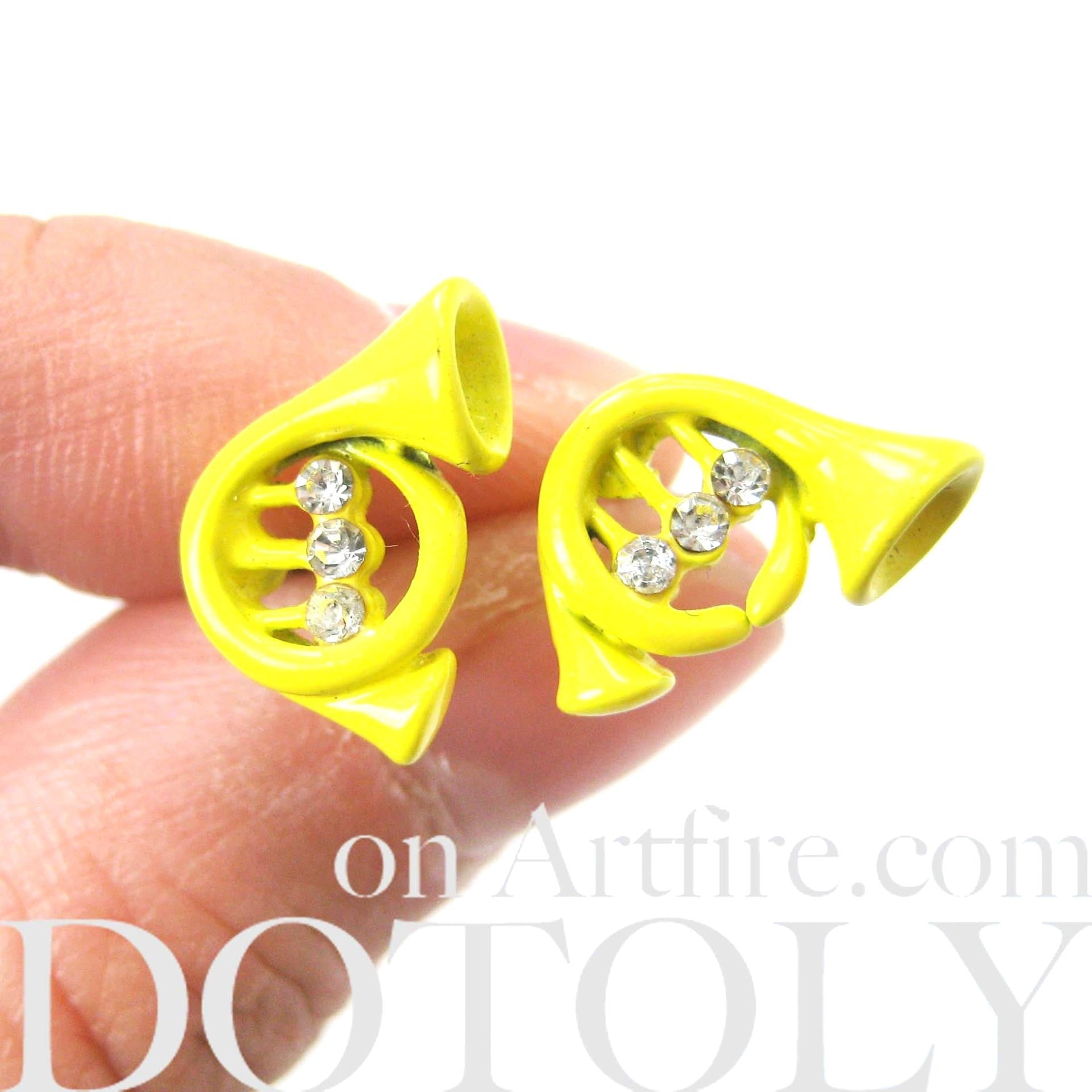 small-trumpet-yellow-musical-instrument-stud-earrings