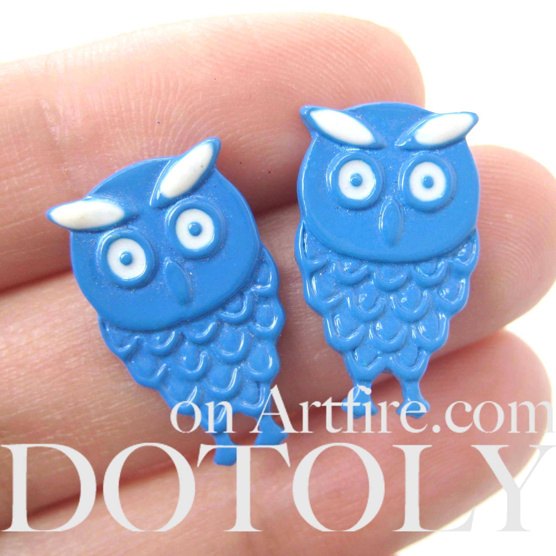 unique-cute-owl-bird-animal-feather-stud-earrings-in-blue