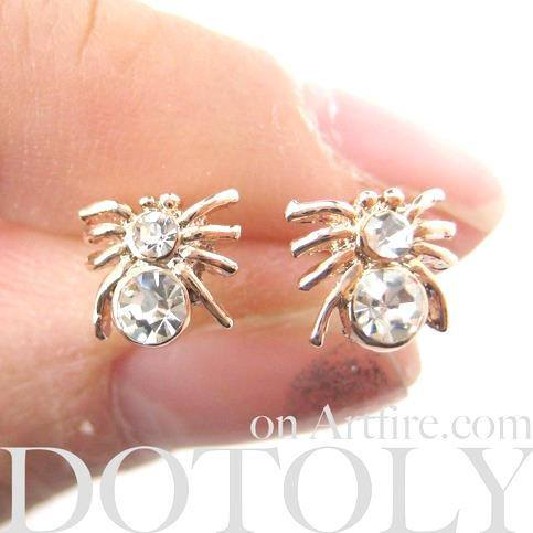 Tiny Tarantula Spider Shaped Stud Earrings in Rose Gold with Rhinestones | DOTOLY