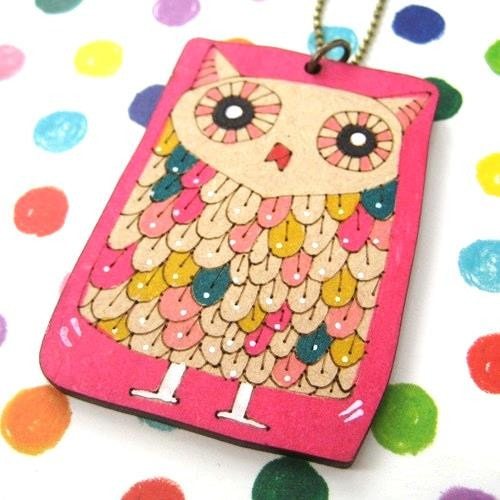 ink-on-wood-owl-bird-drawing-cute-animal-necklace-in-bright-pink