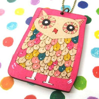 Owl Bird Animal Hand Drawn Pendant Necklace in Pink Ink on Wood | DOTOLY