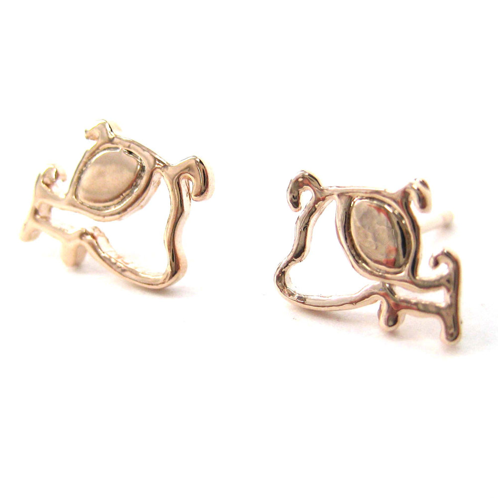 Small Puppy Dog Silhouette Animal Stud Earrings in Rose Gold | DOTOLY