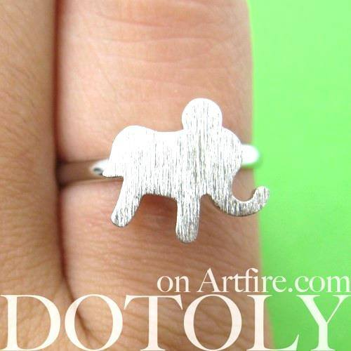 Adjustable Elephant Silhouette Shaped Animal Ring in Silver | DOTOLY | DOTOLY