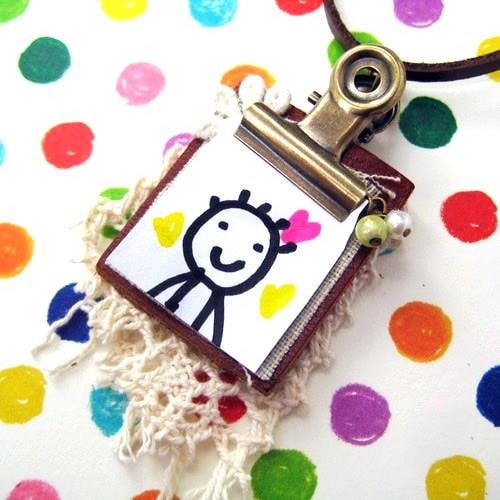 miniature-clip-board-leather-memo-pad-photo-frame-charm-lace-necklace