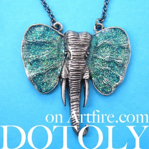 large-elephant-animal-necklace-in-silver-with-turquoise-glitter-ears
