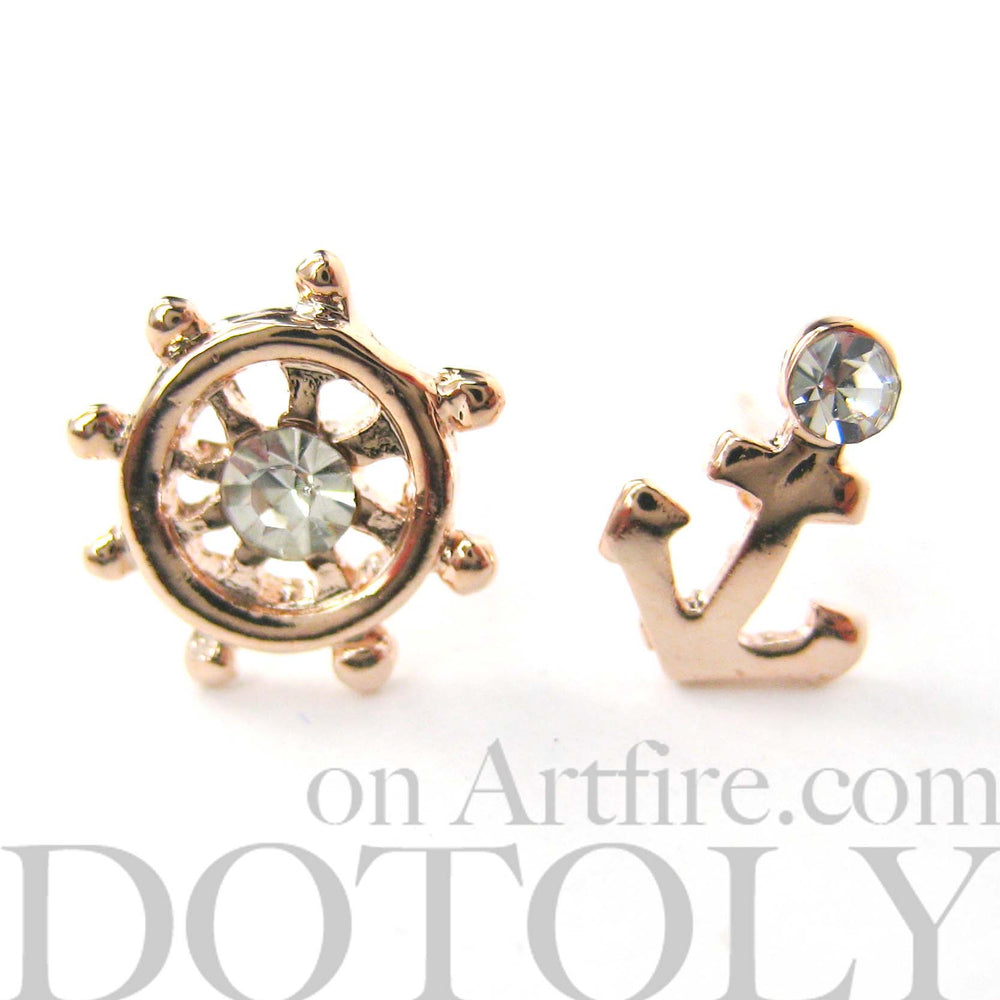 Anchor and Wheel Nautical Themed Small Stud Earrings in Rose Gold | DOTOLY