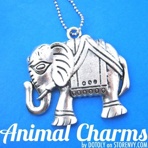 abstract-elephant-animal-charm-necklace-in-silver
